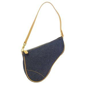 Christian Dior Saddle Hand Bag MC0071 Indigo Brown
